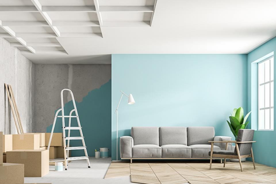 Rénovation peinture d'un salon